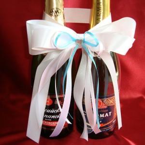 Бирюзовое украшение на шампанское 7
