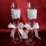 Свадебные бокалы с французским кружевом