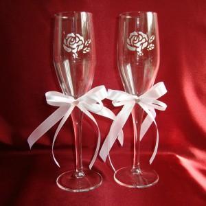 Бокалы с серебряной розой 1