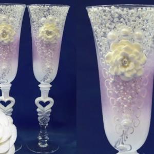 Розовые бокалы с цветами лепка 121