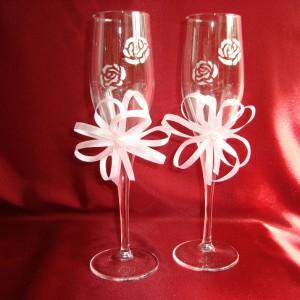 Бокалы с серебряными розами и жемчугом 2