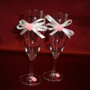 Бокалы для битья на свадьбу розовые 5
