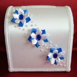 Синий сундучок для денег на свадьбу 108