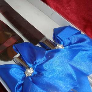 Приборы для торта синий 2