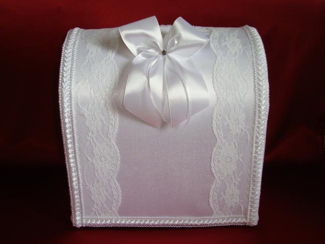 Белый атласный свадебный сундучок 37