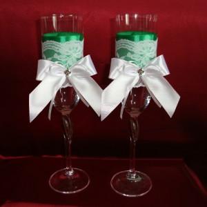 Зеленые бокалы на свадьбу 26