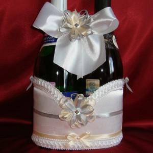Украшение на шампанское серый айвори 35