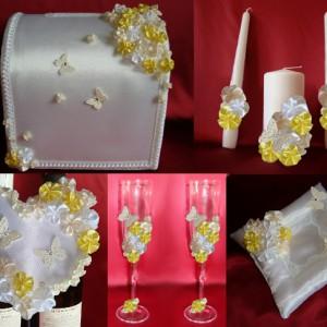 Комплект Цветы и бабочки жёлтый айвори