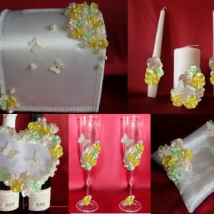 Комплект Цветы и бабочки жёлтый мята айвори