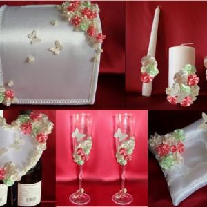 Комплект Цветы и бабочки роза мята айвори