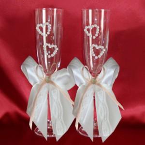 Бокалы на свадьбу персиковый 49