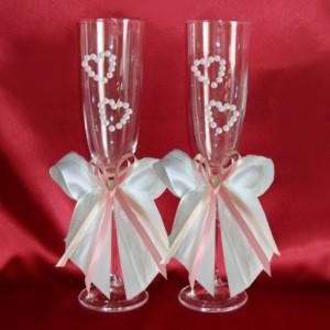 Бокалы для свадьбы персик роза 50