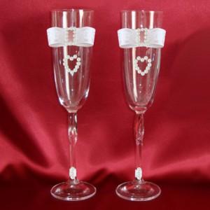 Бокалы свадебные розовый 54