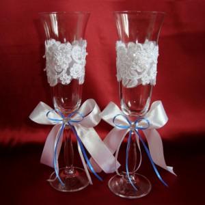 Бокалы для свадьбы синие 61