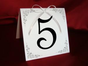 Карточка с номером стола белая 3