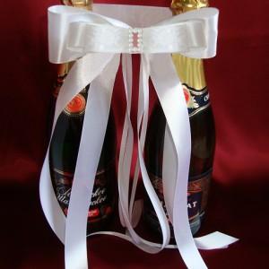 Украшение на шампанское роза деним 55