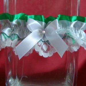 Подвязка невесты зелёного цвета 62