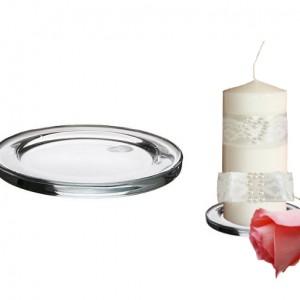 Круглая стеклянная подставка под свечу 1