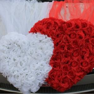Двойное сердце с фатином на машину 14