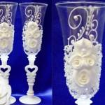 Бокалы для свадьбыматовые лепкаЖемчужина белые