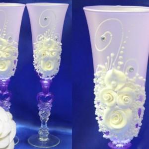 Бокалы фиолетовые с цветами 107