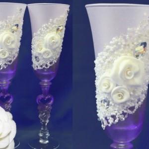 Фиолетовые матовые бокалы лепка 110