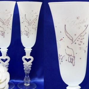 Белые бокалы с голубками роспись 127