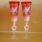 Красные бокалы с росписью 133