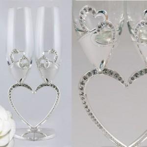 Бокалы свадебные половинки серебро с кристаллами 62