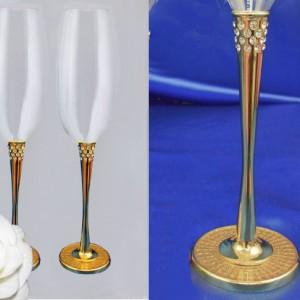 Бокалы с кристаллами на свадьбу золото 66