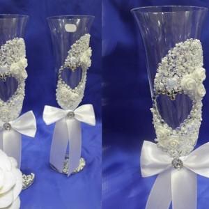 Бокалы свадебные богемия с цветами 68
