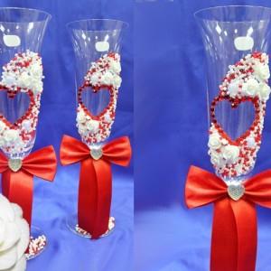 красные бокалы богемия на свадьбу 69