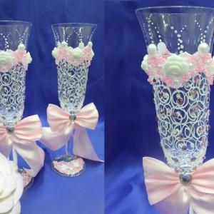 Розовые бокалы на свадьбу Богемия 72
