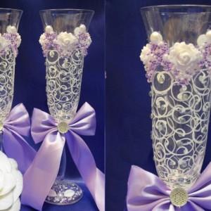 Сиреневые бокалы на свадьбу Богемия 81