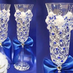 Бокалы Богемия синие с цветами 83