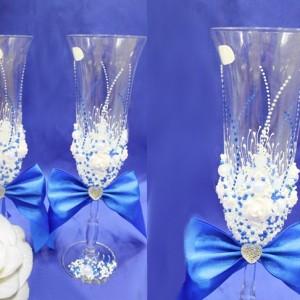 Бокалы синие Богемия на свадьбу 84