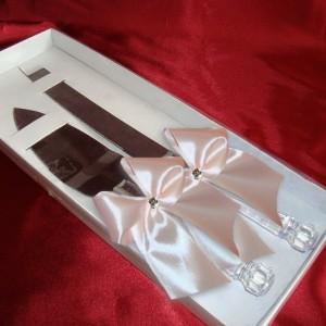 Лопатка и нож для свадьбы набор персиковый