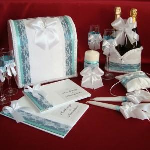 Комплект аксессуаров на свадьбу Морская волна