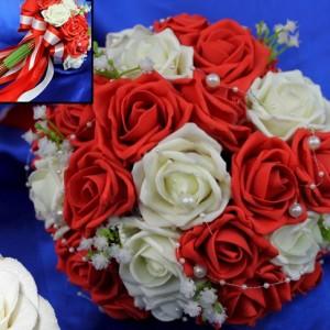 Букет дублёр розы жемчуг красный