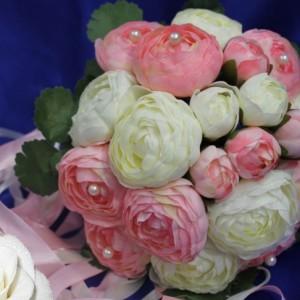 Букет дублер пионы жемчуг розовый 17