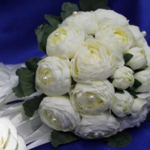 Белый букет дублер пионы жемчуг 19