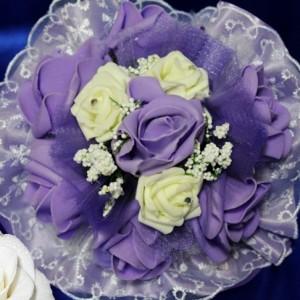 Сиреневый букет латексные розы 28