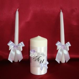 Свечи фиолетовые на свадьбу с именами 64