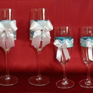 Комплект бокалов на свадьбу бирюза 135