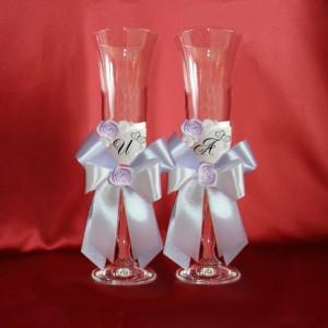 Сиреневые бокалы с инициалами на свадьбу 138