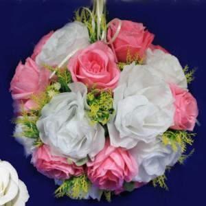 шар из роз белый розовый 2
