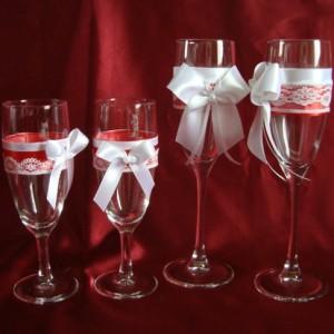 Комплект свадебный бокалов карсный 143