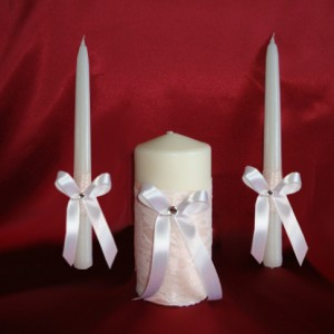 Свечи персиковые на свадьбу ажурные 69