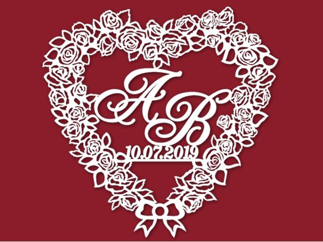 Герб сердце из роз на свадьбу 18
