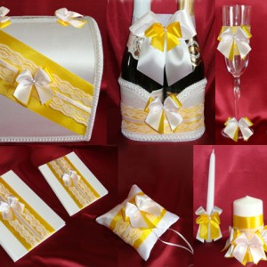 Комплект аксессуаров на свадьбу Бал бантиков жёлтый